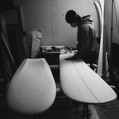 Miha Godec shaping finless surfboards